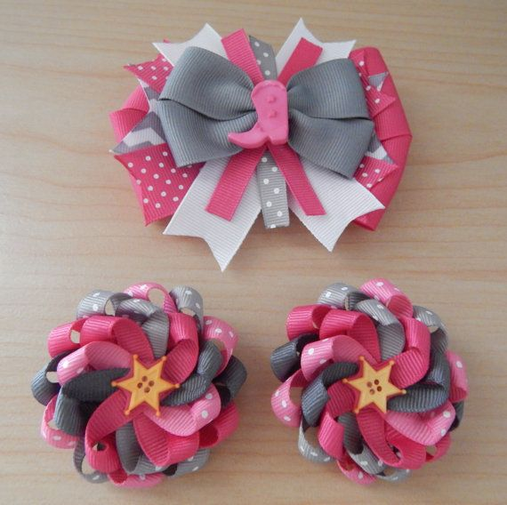 Pink Cowgirl Princess Hair Bow Set for Girls / Birthday Party / Texan Rodeo…
