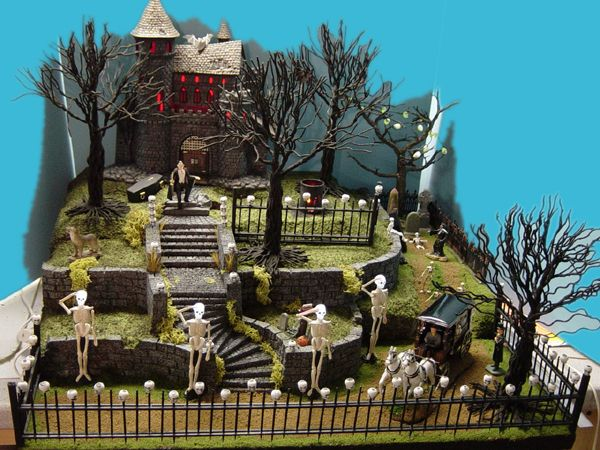 showing miniature halloween village