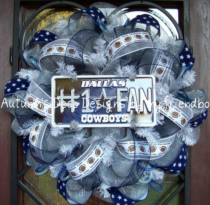 Dallas Cowboys Number 1 Fan Football Deco Mesh Wreath. $70.00, via Etsy.