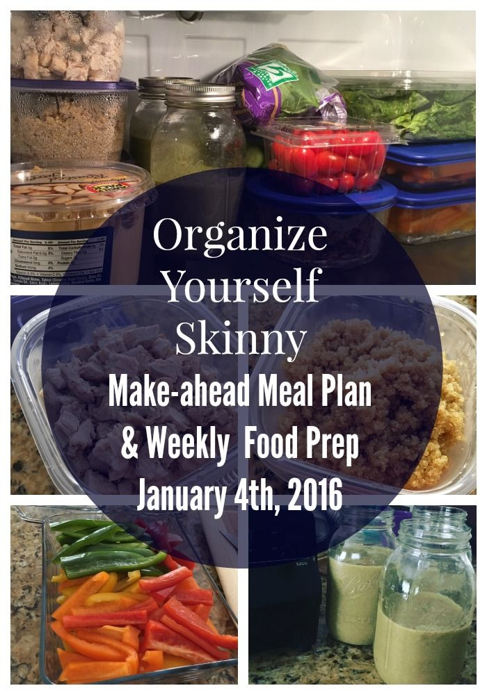 Make-ahead meal plan and weekly food prep. Healthy breakfast, lunch, and dinner made ahead of time.
