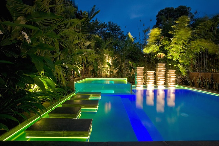 Award winning Chris Clout Design pool at Chris Clout Design office in sunshine beach Aus with cool pool lighting