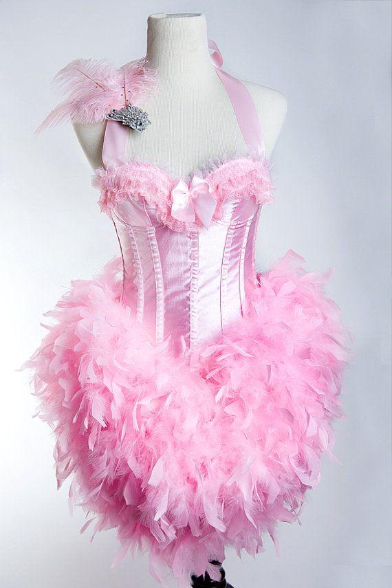 X-LARGE Pink Flamingo : Las Vegas Showgirl Burlesque Bustier Fashion Corset Adult Halloween Costume Pink Lace Side Zip w. Fascinator