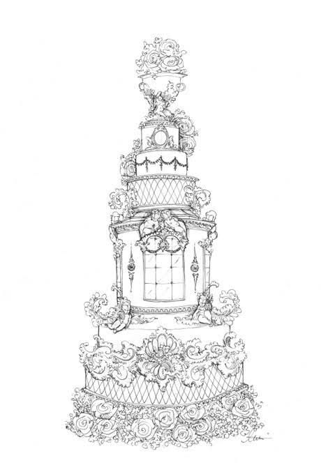 Prince William and Kate Middleton: Fantasy Royal Wedding Cake Sketches | Royal Wedding | Brides.com : Brides