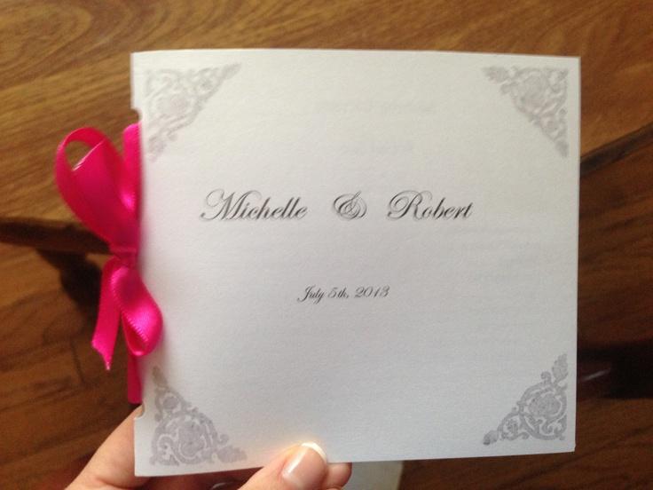 Homemade wedding program!