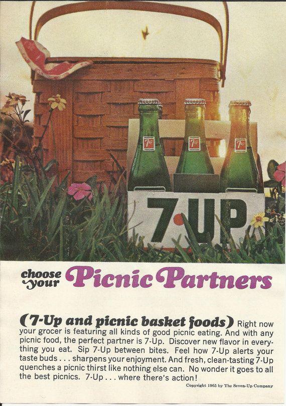 7-UP Picnic Basket Original 1965 Vintage Print Ad Color Photo Seven Up Bottles Six Pack Carton Soda Pop Soft Drink