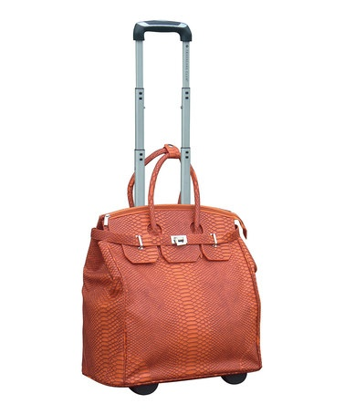 Take a look at this Orange Faux Python 18 Wheeled Carry-On by Travelers Club Luggage on #zulily today!