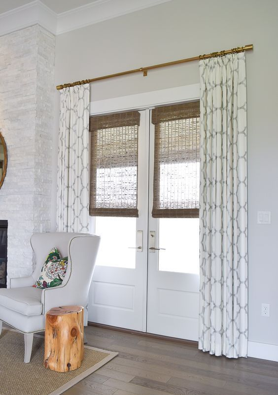 Beau Patterned Curtains And Bamboo Shades For Style And Privacy