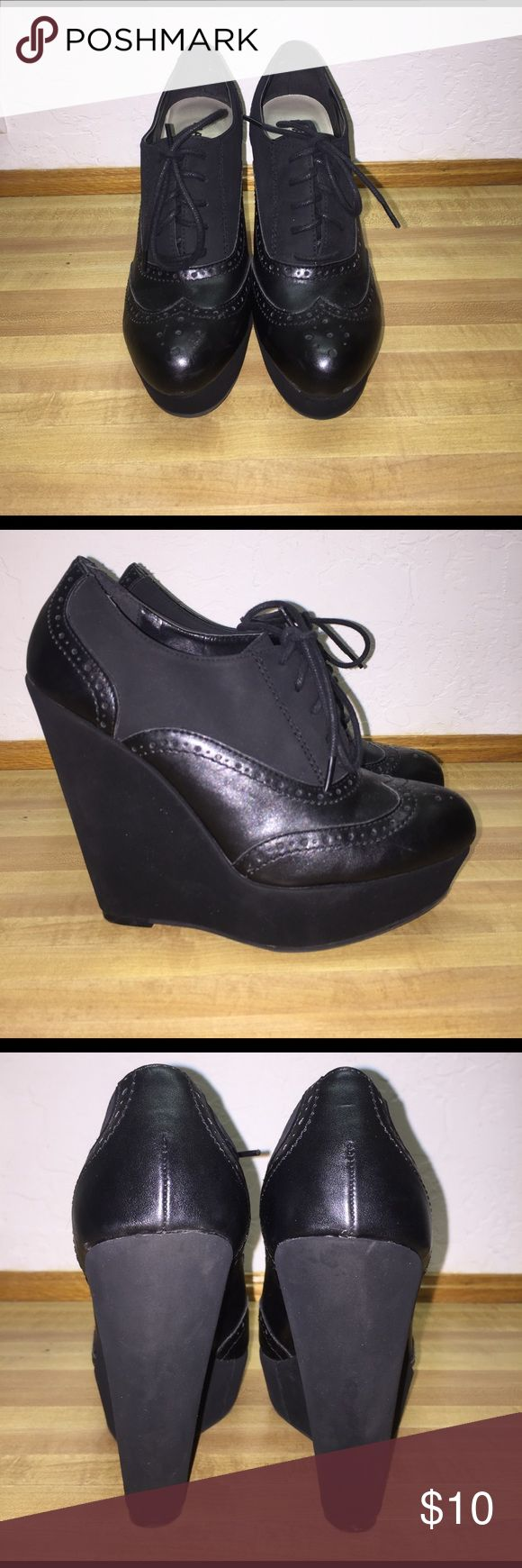 "Black oxford wedges 5"" with approx 1.5"" platform Shoes Wedges"