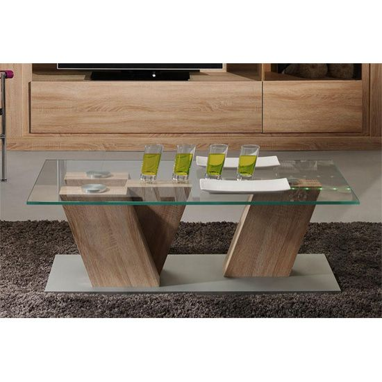 Season Coffee Table With Clear Glass Top #glasscoffeetable #modern
