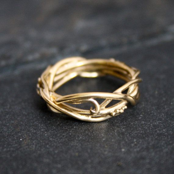 14Kt Yellow Gold Elvin Flow Organic Whimsical Engagement Ring Wedding Band via Etsy