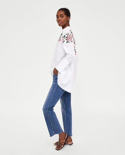SHIRT WITH EMBROIDERED FLOWERS-TOPS-WOMAN | ZARA United Kingdom