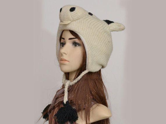 White goat animal hat   warm hat  knit hat  by HatsMittensEtc