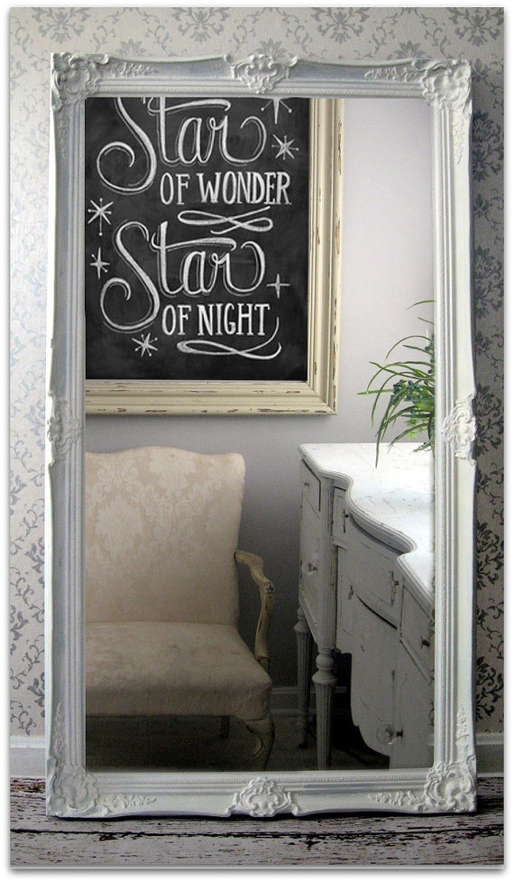 leaning white baroque mirror large shabby chic mirror
