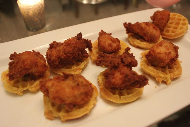 Such a cute idea for a brunch shower!   Mini Chicken 'n waffles... brilliant!