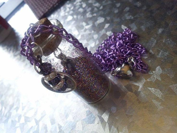 Handmade Fairy Dust Glitter and Pentagram bottle necklace