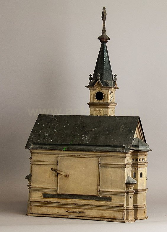 Rare antique hamster cage in the shape of a baroque Bavarian church, 1868
