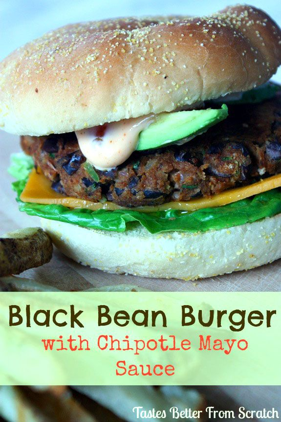 The BEST Black Bean Burger Ever!! Super easy to makea nd healthy. Served with a yummy Chipotle Mayo Sauce