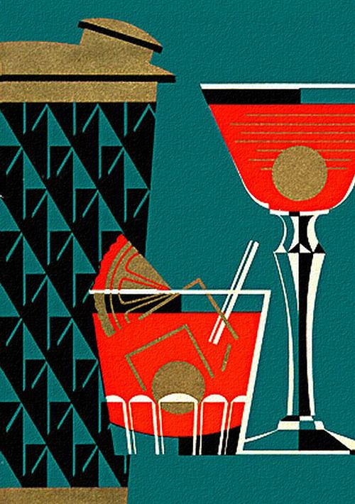 Vintage cocktail shaker illustration graphically for Cocktail 3 couleurs