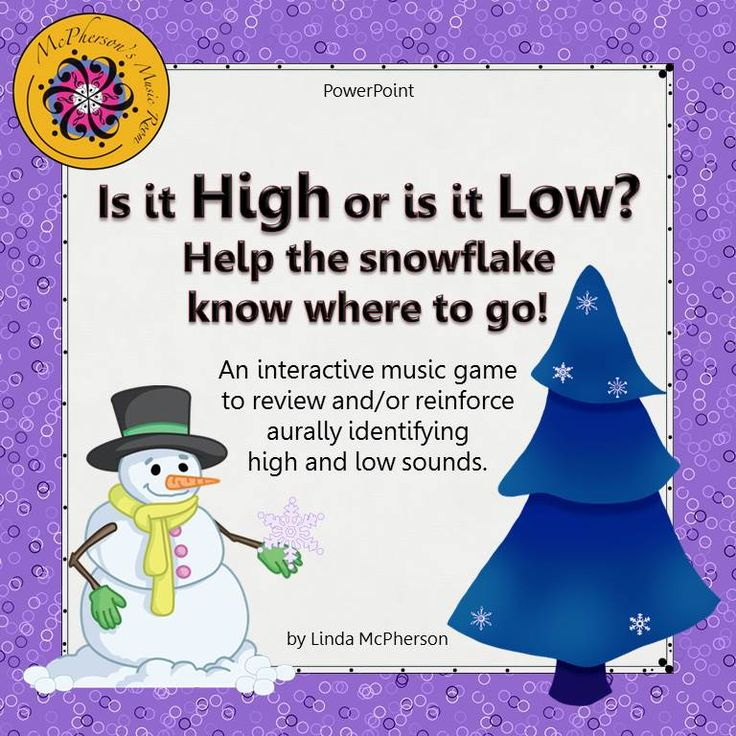 Looking for an interactive way to reinforce recognizing high and low sounds with your younger students in music? They will love watching the snowflake float across the page to land on the evergreen when they select the correct answer!