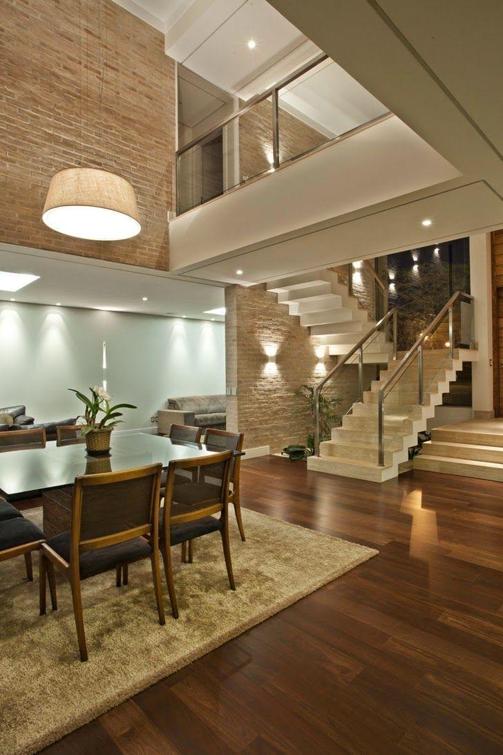 Casa brasileira com arquitetura e decoracao moderna - linda! Revestimento, tijolo aparente, textura, iluminacao, projeto arquitetura interiores: