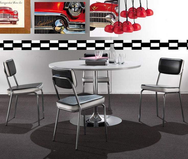 Chaise de salle manger design en pu noir et blanc camus for Chaise de salle a manger noir et blanc