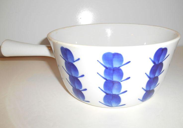 Lyngby Denmark Serving Dish w/ Handle White Ceramic w/ Blueberries 1 Quart 1960s