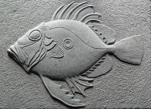 Guy Stevens Sculpture  John Dory  Forest of Dean sandstone    Part of the marine series.    Carving Status: Private Collection