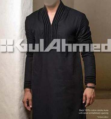 gul ahmed men s kurta shalwar summer cotton black Gul Ahmed Summer Cotton Kurta Shalwar Kameez Mens 2013