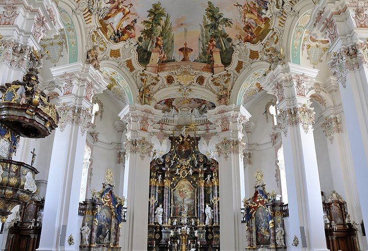 German rococo germany pilgrimage church in steinhausen for Baroque art style characteristics