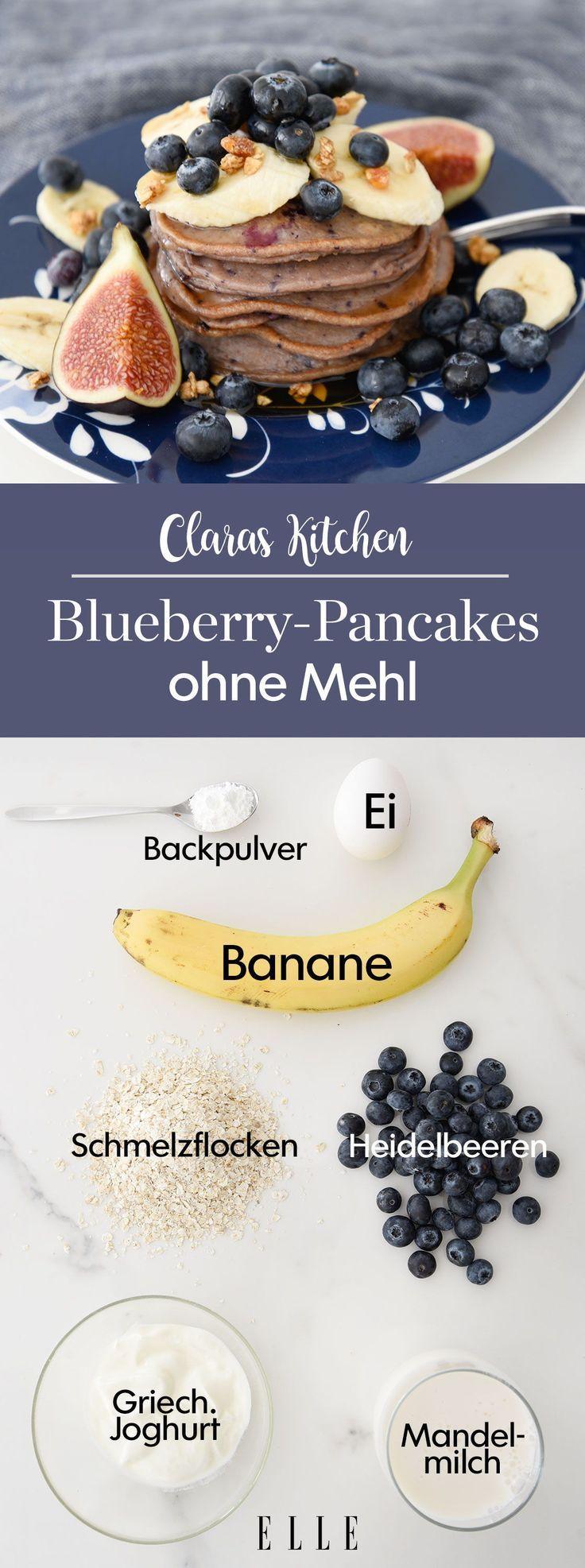 Blaubeer-Pancakes mit Bananen, das Rezept