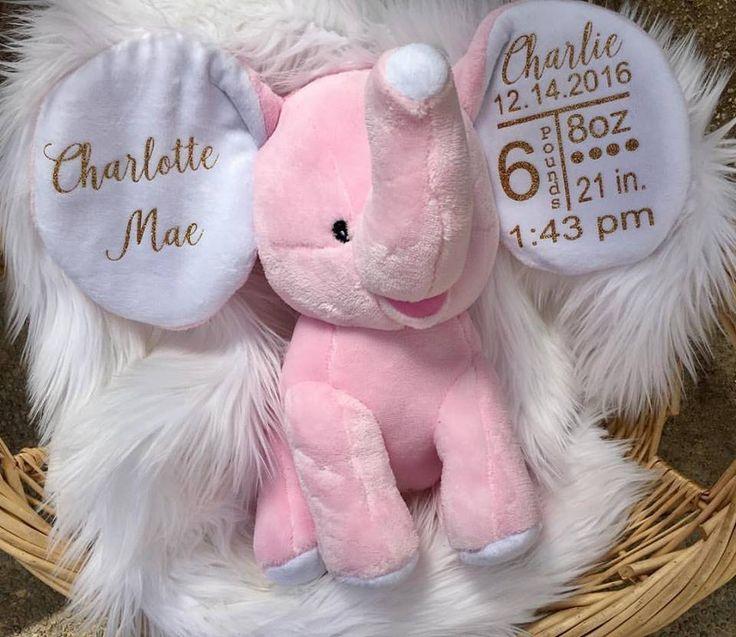 Custom elephant - Pink elephant - Blue elephant - custom birth stats - babyshower gift ideas - cubbies - customized baby gifts - personalized babyshower gifts - elephants