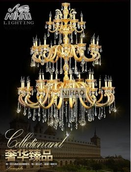 Hotel riesige Projekt 39 arms Kristall-Kronleuchter Gold klassische 3 Tiers Kronleuchter KRISTALL GLANZ Licht MD3104 L39 D1310mm H1780mm