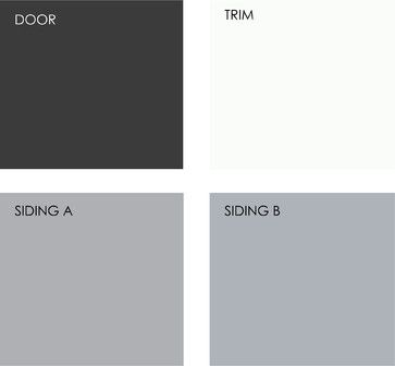 Example palette: Black, white and gray comprise a modern classic exterior color scheme. You can use any shade of gray you like; shown here is a warmer tone (siding A) versus a cooler blue-gray (siding B). Clockwise from top left (all from Kelly-Moore Paints): Kitty Kitty KM3792-5, Calcium KM3769-1, Dolphin Dance KM3788-1, and Sterling Water KM3780-2
