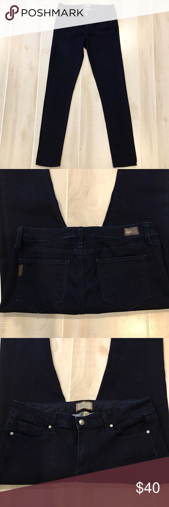 "Paige Peg Skinny Dark Ink Blue wash 30X33 Pristine condition!  Like New!  Size 30.  Dark wash.  Inseam is approx 33"".  Waist is approx 16"".  Rise is approx 8.5"".  77% Cotton, 21% Poly and Elastane. Paige Jeans Jeans Skinny"