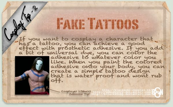 Cosplay Tip 2: Fake Tattoos by *Bllacksheep on deviantART