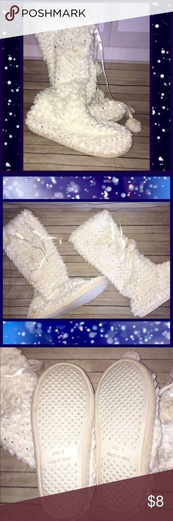 ☁️Super Soft Slippers with Sequins☁️ Winter white bootie slippers EUC size 9. Sparkly silver sequins make these warm slippers even more fun and festive. Drawstring top around the calf with Pom Pom details. Non skid sole on the bottom. Shoes Slippers