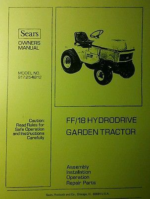 Sears FF/18 Craftsman Full Feature Lawn Garden Tractor Owner & Parts Manual 44pg