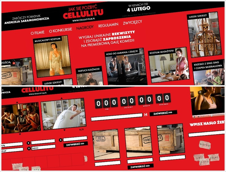 "In November 2010, we have launched an advertising campaign for the movie ""Jak się pozbyć cellulitu"" by Andrzej Saramonowicz. The action has been realized on the request of Warner Bros.     We have planned and implemented a detective social contest ""Deadly Tutorial"". A specially created for the purposes of the action Facebook profile was used as a platform for this campaign. Props from the movie, like a skeleton, a wheel to break bones, electric chair etc., were used as prizes in the contest."