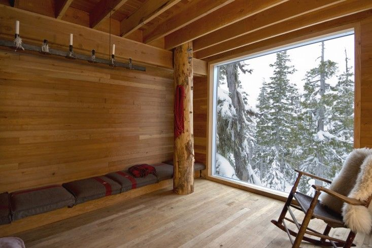 Scott and Scott Architects, Plan of Alpine Snowboarding Cabin in Vancouver, Canada, bedroom with wood walls, floors and ceiling