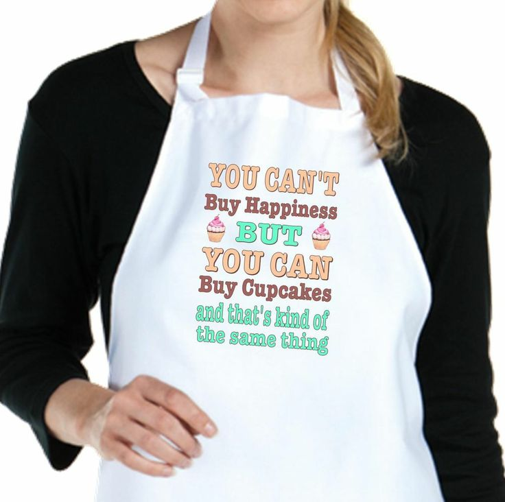 chefs apron cant buy happiness can buy cupcakes full length white poly cotton ebay. Black Bedroom Furniture Sets. Home Design Ideas