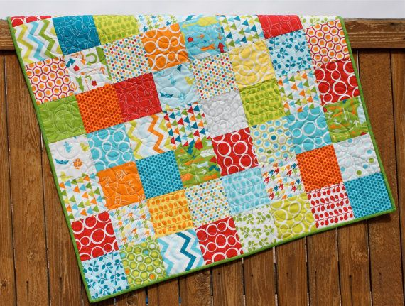 Primary Colors Baby Boy Quilt Mixed Bag Red Blue Yellow