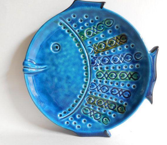 Bitossi Rosenthal Netter Blue Glazed Fish Plate 1960s Italian Mid Century Raymor