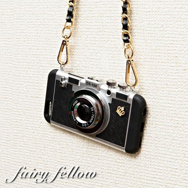カメラ型 iPhoneケース 王冠ビジュー ショルダーチェーン ブラック iPhone7 6s 5 5s SE Plus アイフォン (c12) | ハンドメイドマーケット minne