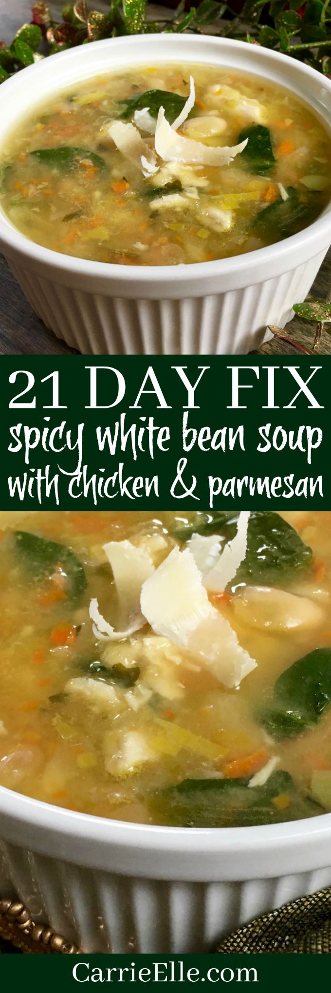 21 Day Fix Spicy White Bean Soup with Chicken (or, use leftover turkey!) via @carrieelleblog