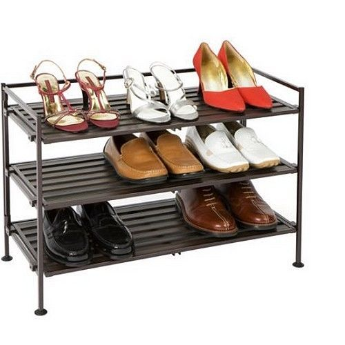 3 Tier Shoe Rack Utility Storage Organizer Stackable 9 Pair Holder Tower Closet #SevilleClassics