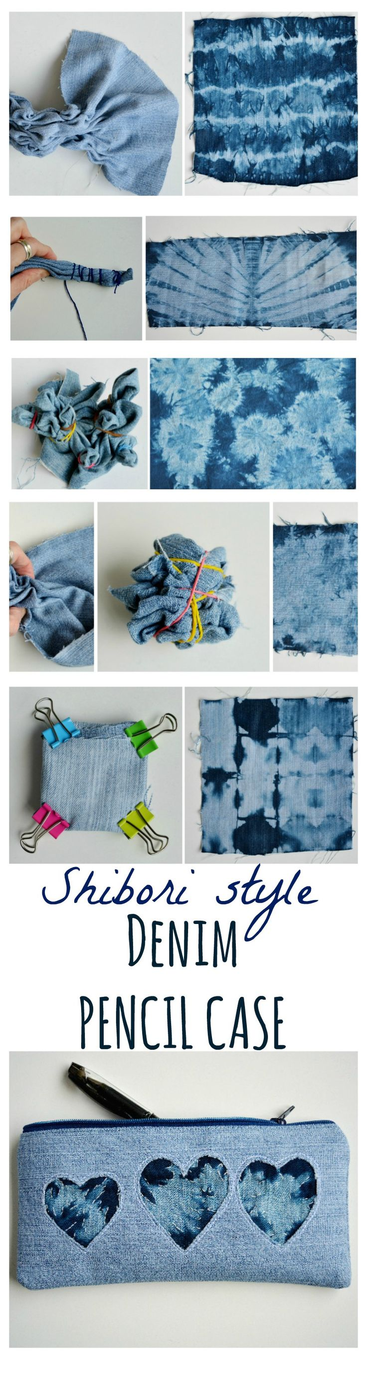 Create a shibori style pencil case with your old denim jeans. Step by step tutorial for the zip denim pencil case. Learn how to tie dye denim.