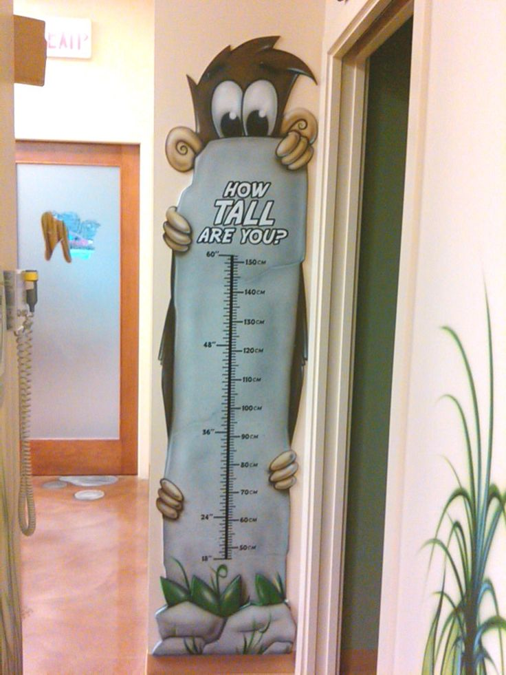 Monkey Height Growth Chart.    Made for a Pediatric Dental office  Use this idea for Small to Tall logo kids in waiting room?
