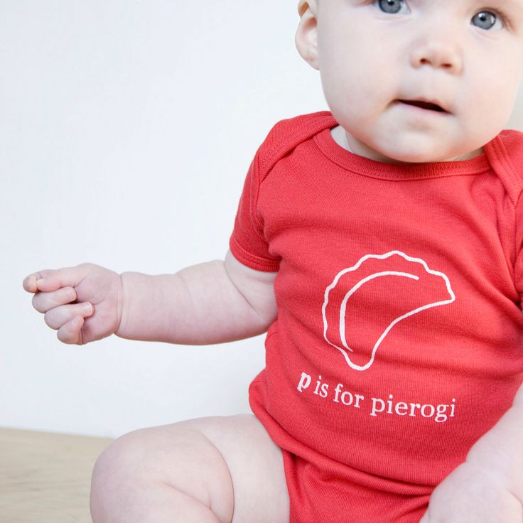P is for Pierogi Baby One piece Bodysuit (Red or Charcoal Gray)- Poland, Polish, Pittsburgh by garbella on Etsy https://www.etsy.com/listing/88049695/p-is-for-pierogi-baby-one-piece-bodysuit