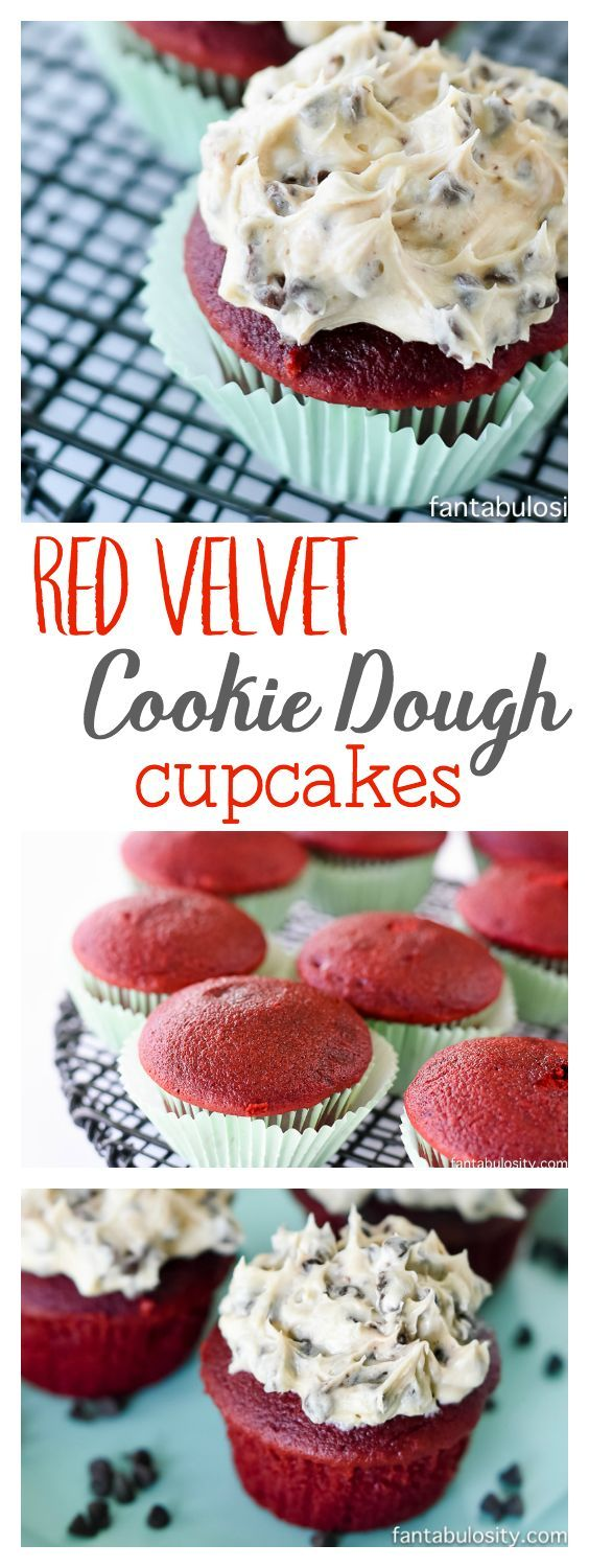 Red Velvet cupcakes with chocolate chip cookie dough frosting