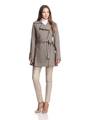 Jones New York Women's Belted Zip-Up Coat (Coco)